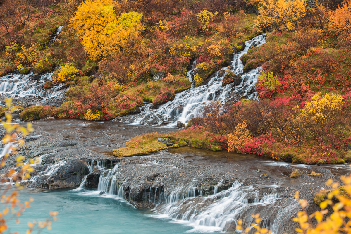 Photographing Hraunfossar Waterfall West Iceland Mostly